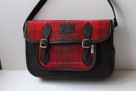 Taransay Deer Leather and Harris Tweed Satchel Bag Red